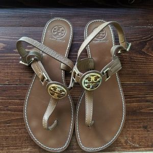 Tory Burch Cassia Flat Thong T Strap Sandals Brown